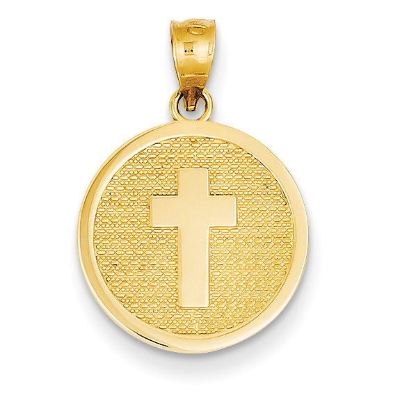 "Cross Disc Charm Pendant with ""God Bless"" on Back"