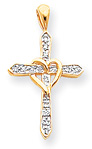 Diamond Heart-Knot Cross Necklace, 14K Gold