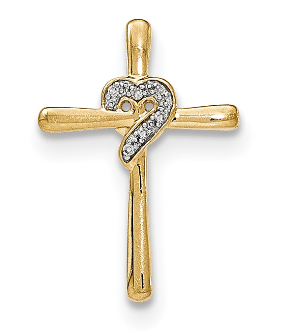 Diamond Heart Swirl Cross Necklace, 14K Gold