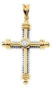 men's 1/3 carat bezel diamond cross Pendant in 14k two-tone gold
