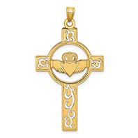 men's 14k gold cut-out celtic claddagh cross pendant