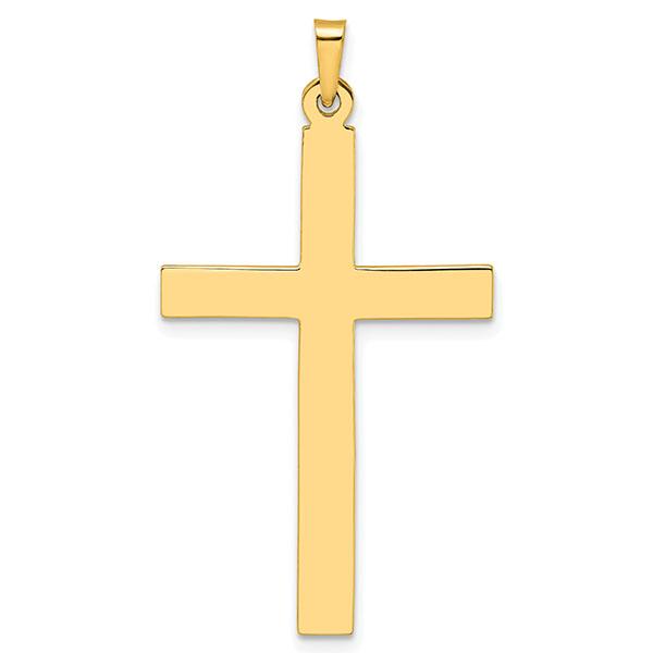 Men's 14K Gold Flat Plain Polished Cross Pendant