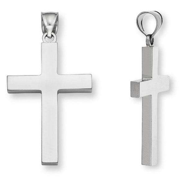 Men's 14K White Gold Cross Pendant - Plain