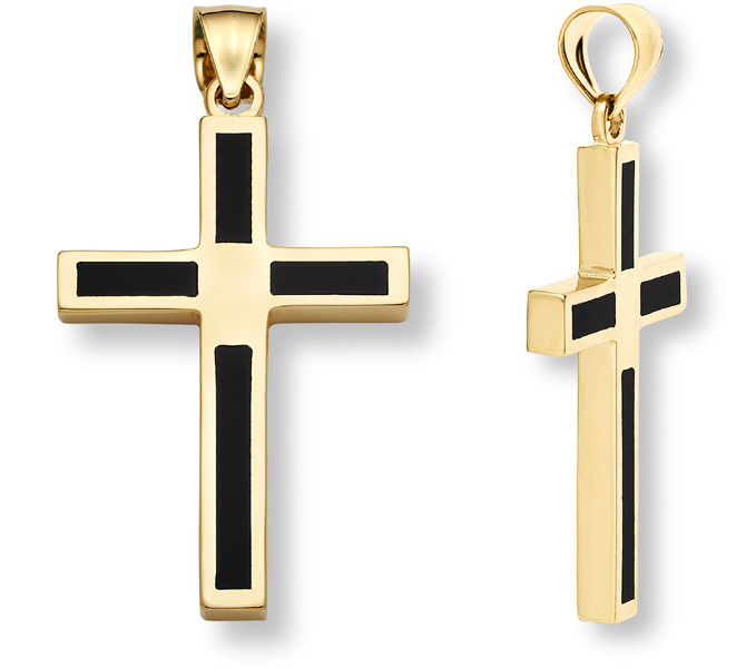 14K Gold Onyx Cross Pendant for Men