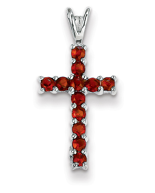 Small Prong-Set Garnet Cross Pendant, 14K White Gold
