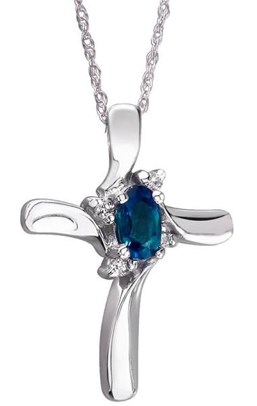 Sapphire Cross Diamond Pendant - 10K White Gold