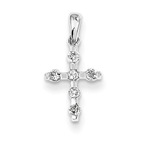 Tiny Diamond Cross Necklace, 14K White Gold