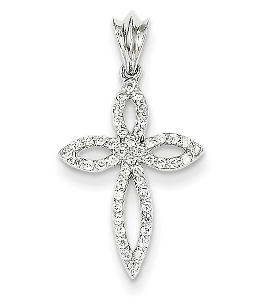Star of Bethlehem Diamond Cross Necklace, 14K White Gold