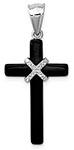 Sterling Silver Women's Onyx Cross Necklace Pendant