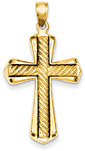 Twisted Textured Gold Cross Pendant in 14K Yellow Gold