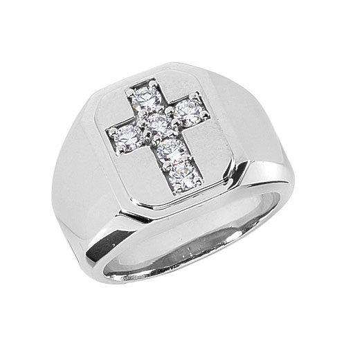 1/2 Carat Men's Diamond Cross Ring, 14K White Gold
