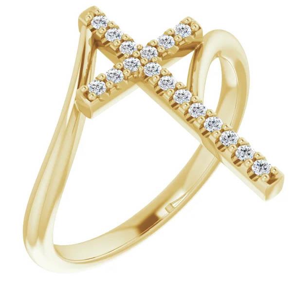 14K Gold 1/8 Carat Christian Women's Diamond Cross Ring