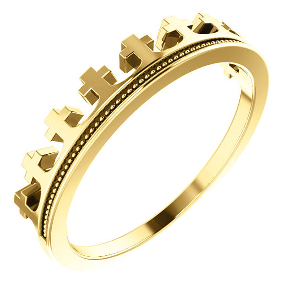 14k Gold Crown of Glory Cross Ring for Women