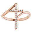 14K Rose Gold 1/8 Carat Diamond Cross Ring for Women