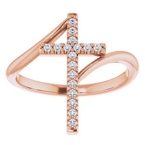 14k Rose Gold 1/8 Carat Diamond Cross Ring for Women