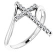 14K White Gold 1/8 Carat Diamond Cross Ring for Women
