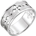 Sterling Silver Ancient of Days Pierced Cross Ring for Women