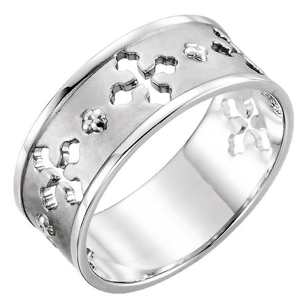 Ancient of Days Cross Ring in 14K White Gold