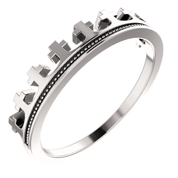 Sterling Silver Crown of Life Cross Ring for Women