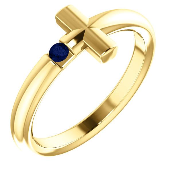 14K Yellow Gold Blue Sapphire Women's Cross Ring
