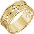 Ancient of Days Pierced Cross Ring for Women, 14K Gold