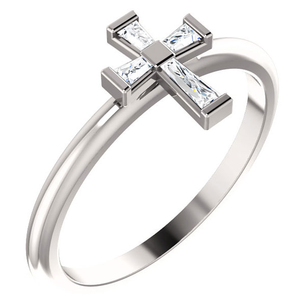CZ Baguette Cross Ring for Women in Sterling Silver