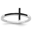 Black Antiqued 14K White Gold Sideways Cross Ring for Women