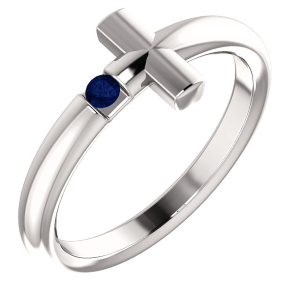 Blue Sapphire Cross Ring for Women, 14K White Gold