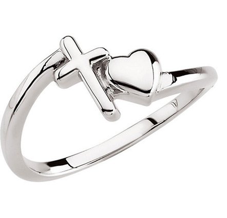 With All Thy Heart Cross and Heart Ring in Sterling Silver
