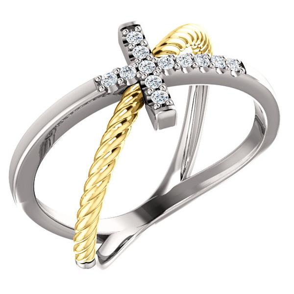 Criss-Cross Diamond Cross Ring in 14k Two-Tone Gold
