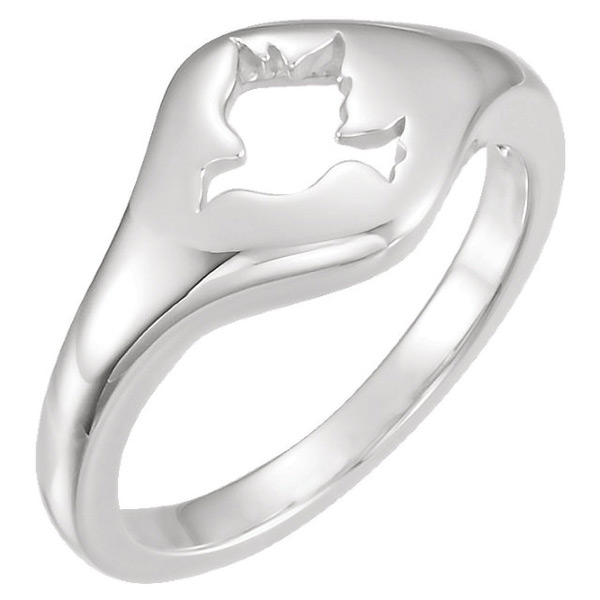 Sterling Silver Cut-Out Holy Spirit Dove Ring for Women