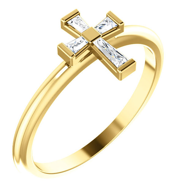Cubic Zirconia Baguette Cross Ring for Women, 14K Gold