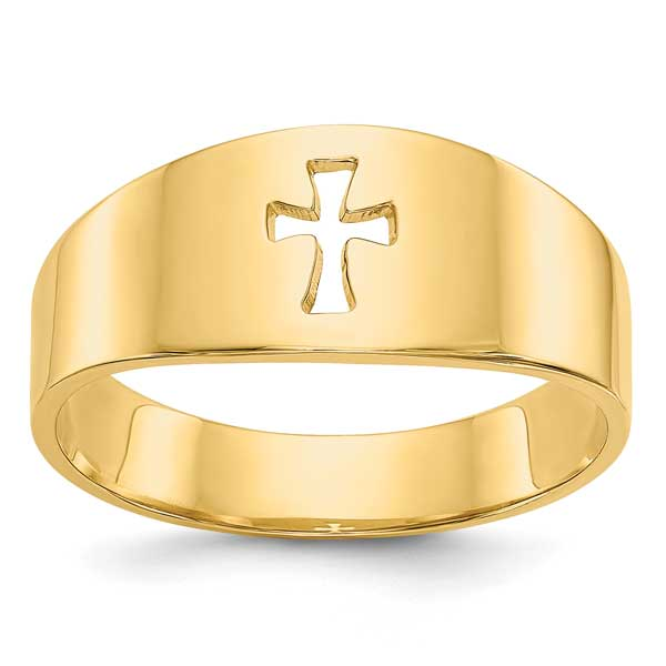 Domed Cut-Out Cross Band Ring for Women, 14K Gold
