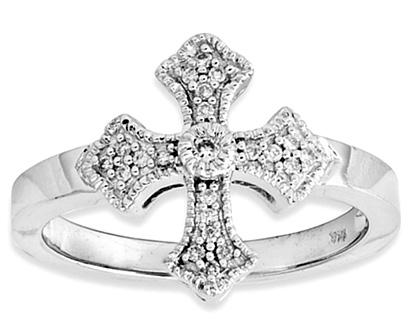 Fancy Diamond Cross Ring, 14K White Gold