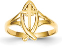 Ichthus Cross Ring, 14K Gold