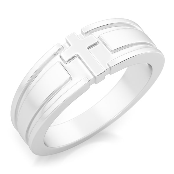 I Am the Life Men's Christian Cross Ring in Sterling Silver