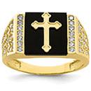 Men's 10K Gold Onyx and CZ Cross Ring