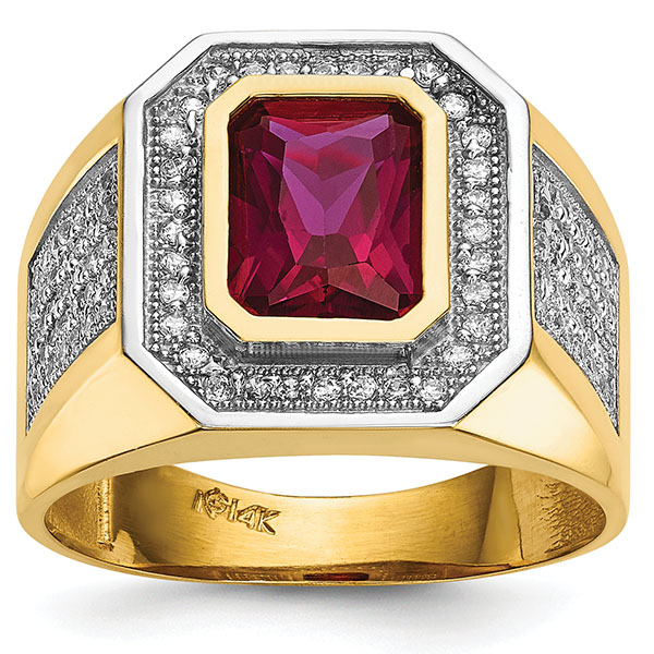 Men's 14K Gold Emerald-Cut Red CZ Ring