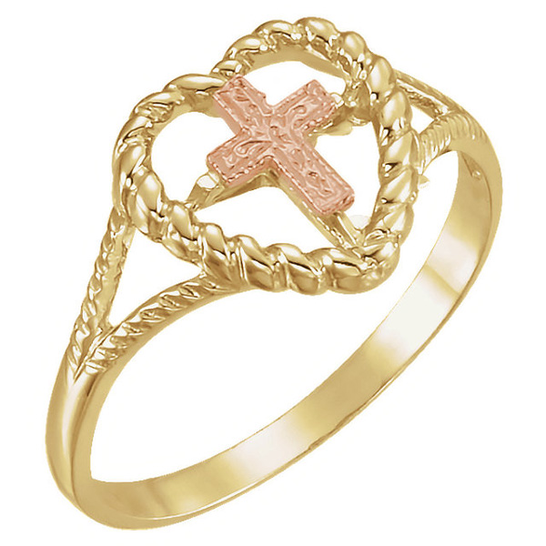 14k rose and yellow gold heart cross ring