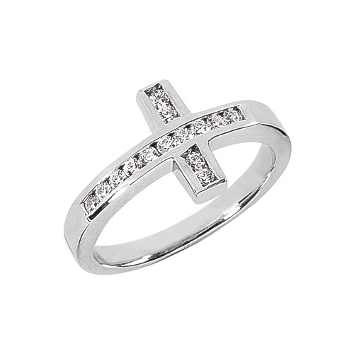 Women's 0.28 Carat Diamond Cross Ring in 14K White Gold