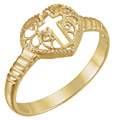 Women's Filigree Cross Heart Ring in 14K Gold