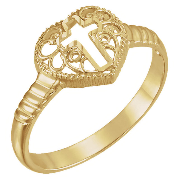 Women's Filigree Cross Heart Ring in 14K Gold
