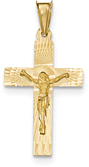 14K Gold Diamond-Cut Crucifix Necklace for Men or Women