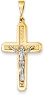 Celtic Crucifix Pendant, 14K Two-Tone Gold