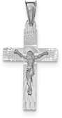 14K White Gold Diamond-Cut Crucifix Pendant