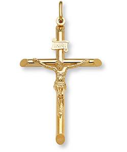 18K Solid Gold Large Men's Crucifix Necklace Pendant
