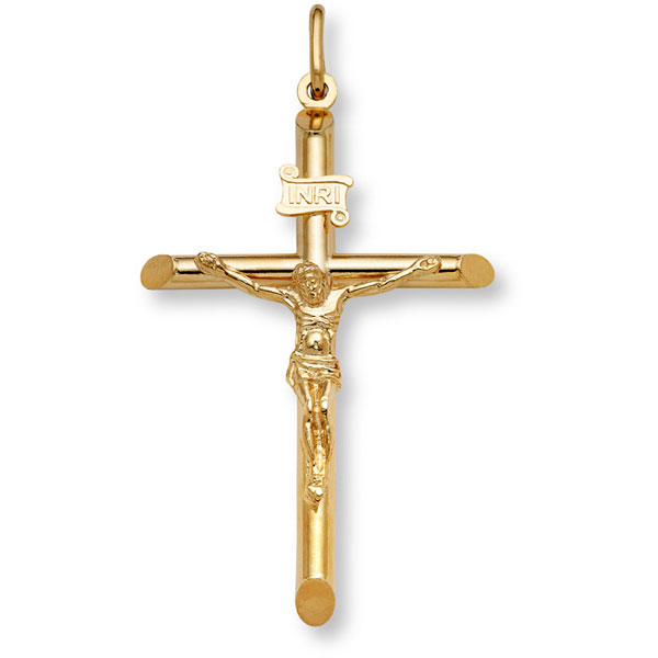 22K Fully Solid Gold Crucifix Pendant Necklace for Men