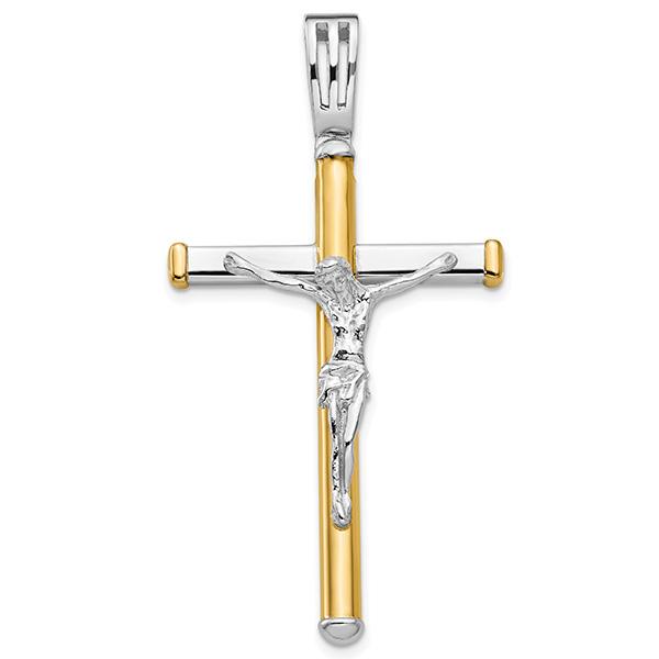 Italian 14k Two-Tone Gold Men's Crucifix Pendant