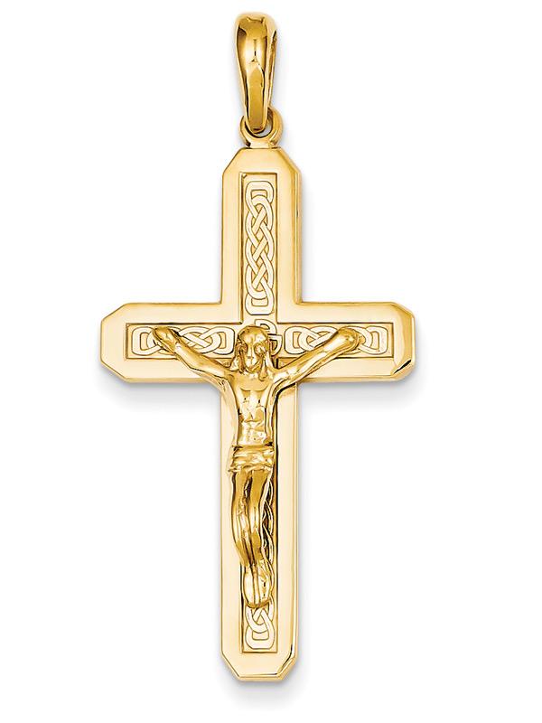 Celtic Crucifix Pendant in 14K Gold
