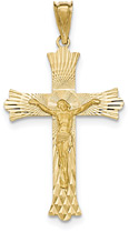 Diamond-Cut 14K Yellow Gold Crucifix Necklace for Men
